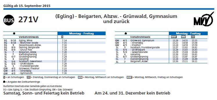 Busfahrplan 271 Gemeinde Egling